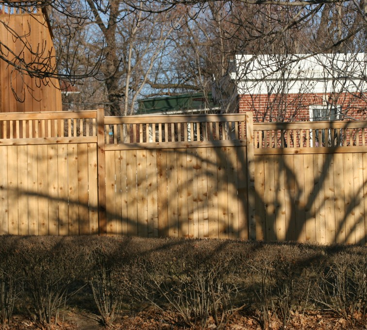 AFC Sioux City - Wood Fencing, 1053 Custom Solid with Accent Top
