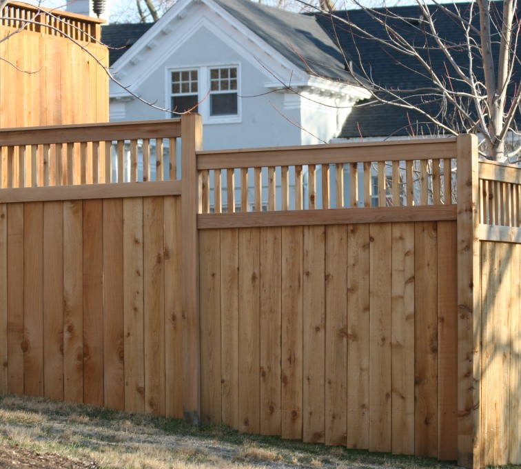 AFC Sioux City - Wood Fencing, 1056 Custom Solid with Accent Top