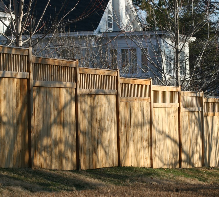 AFC Sioux City - Wood Fencing, 1057 Custom Solid with Accent Top