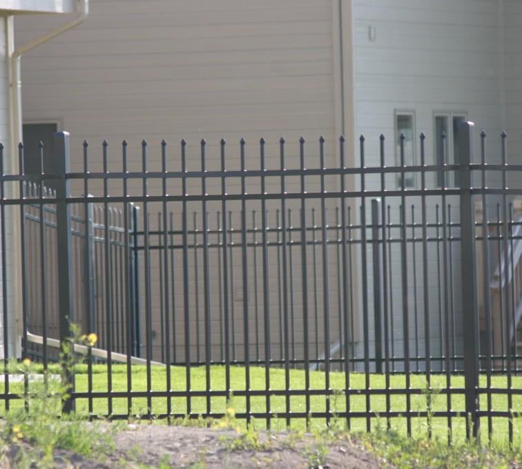 AFC Sioux City -4 rail black ornamental spear top fencing