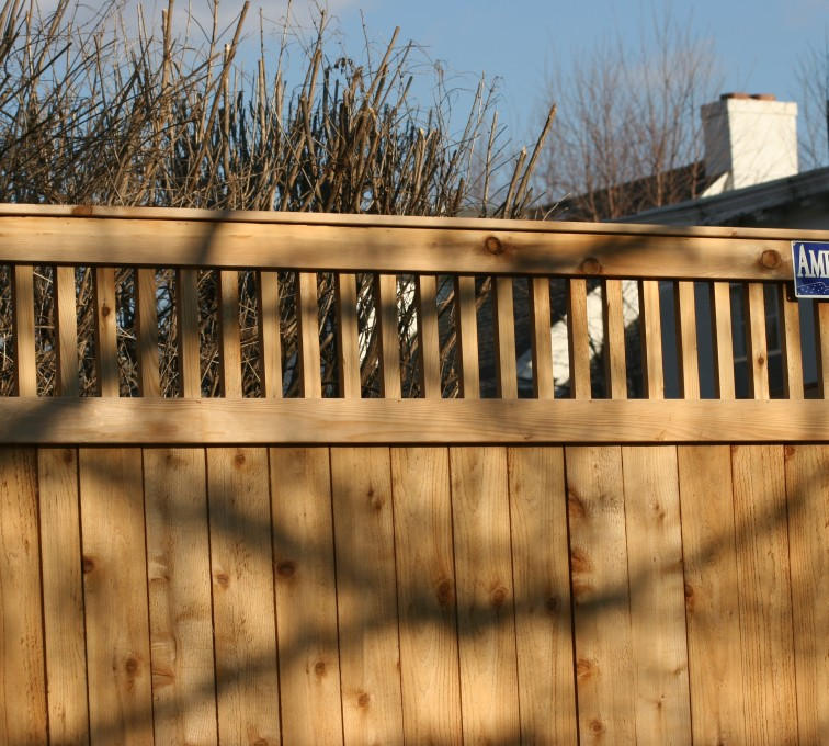 AFC Sioux City - Wood Fencing, 1059 Custom Solid with Accent Top