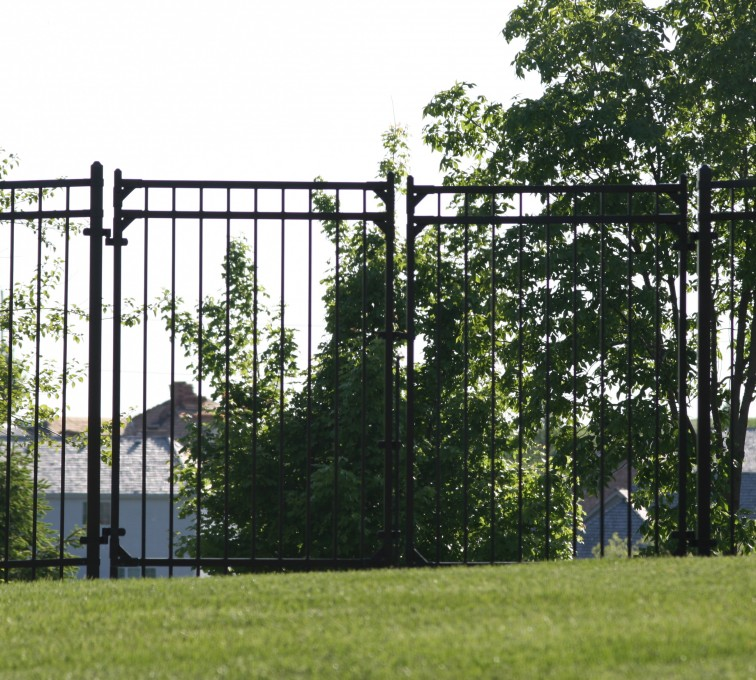 AFC Sioux City - Ornamental iron Flat Top double swing gate