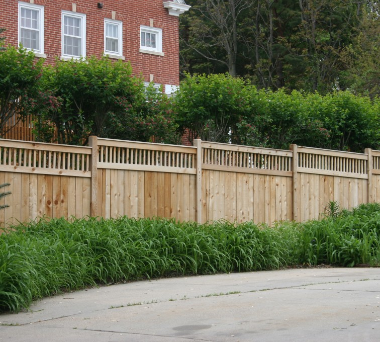 AFC Sioux City - Wood Fencing, 1063 Custom Solid with Accent Top