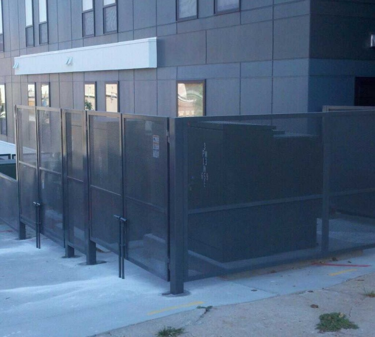 AFC Sioux City - Wire mesh dumpster enclosure