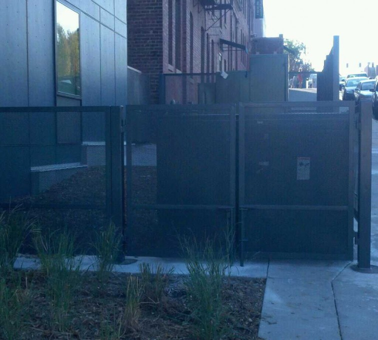 AFC Grand Island - Welded wire fencing enclosure with double swing gates