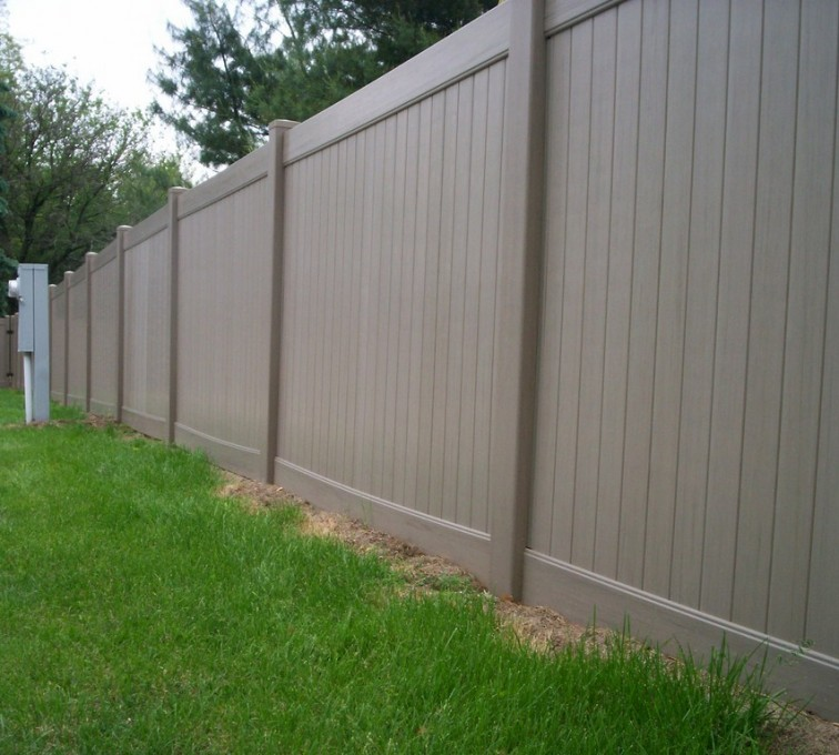 AFC Sioux City - 6' Woodland Select Weathered Cedar Solid Privacy Vinyl Fence