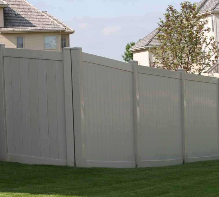 AFC Grand Island - 6' solid privacy tan vinyl fence
