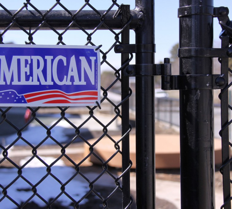 AFC Sioux City - Black chain link gate with American Fence Company nameplate