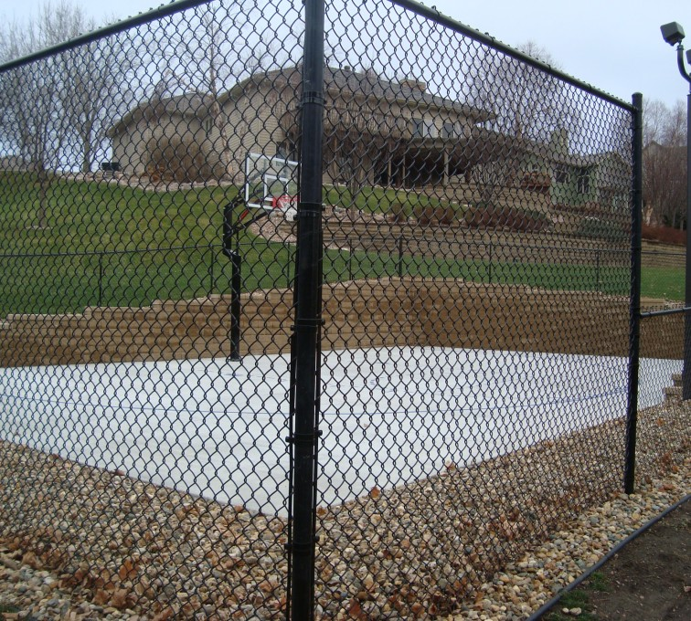 AFC Sioux City - Black chain link basketball court fencing