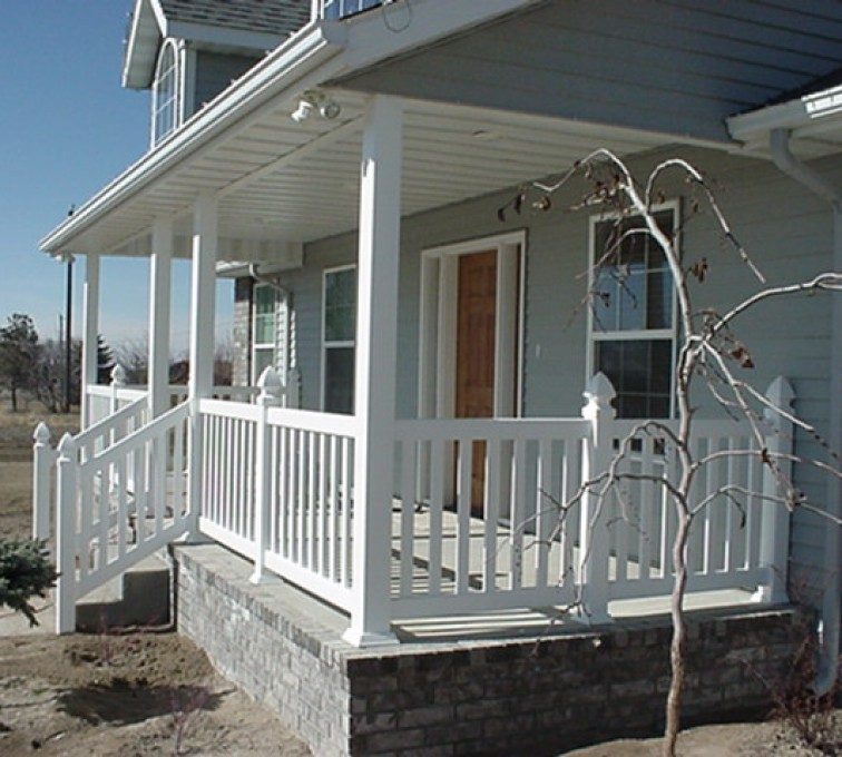 AFC Sioux City - Side view of white residential porch railing