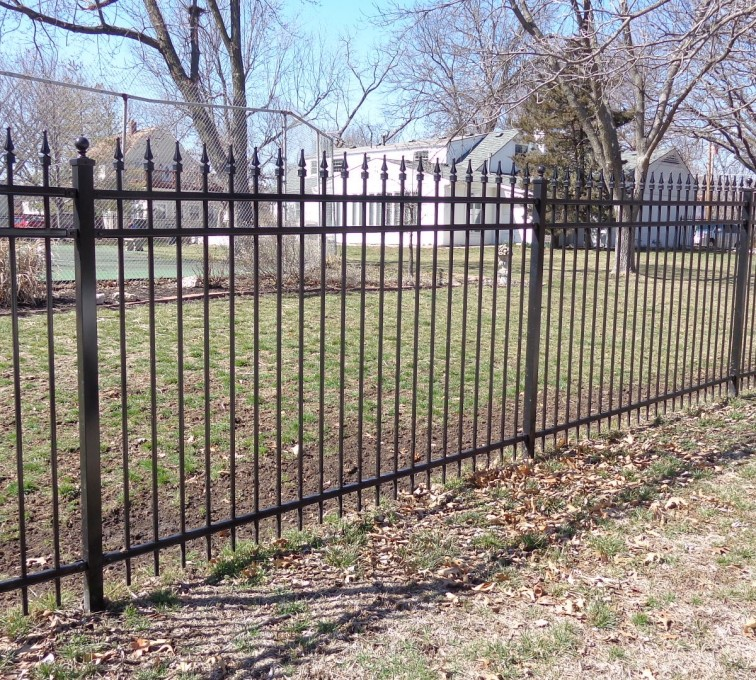 AFC Sioux City - Black Ornamental Iron Fence with Quad Flares