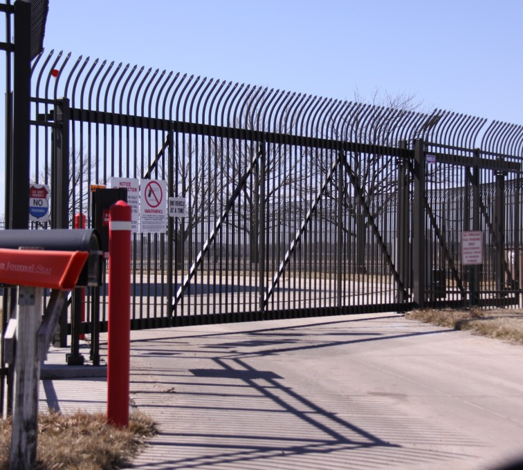AFC Sioux City - Custom Ornamental Sliding Gate with Radius Picket Accent