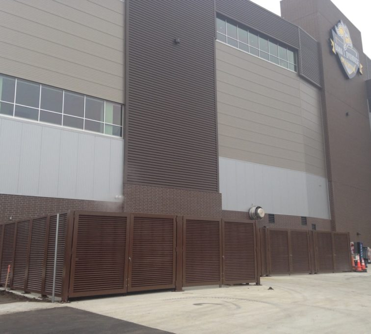 AFC Sioux City - Dark brown louvered enclosure with swing gates
