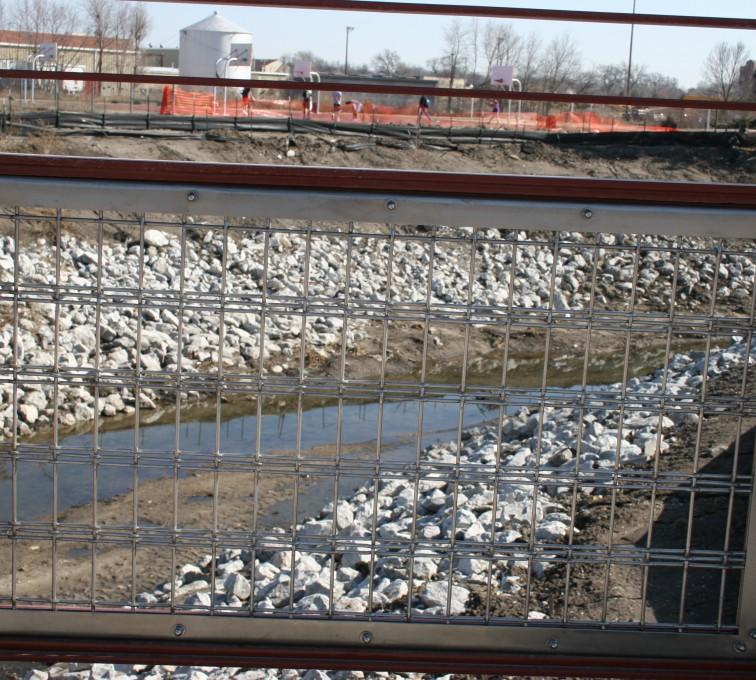 AFC Sioux City - Long shot of custom red ornamental railing