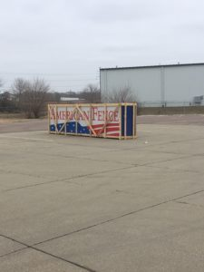 American Fence Company of Sioux City's newly arrived sign to put at our new fence installation location