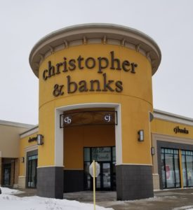 In Sioux City, a Christopher & Banks store with custom ornamental accent above the walkway