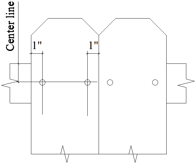 Drawing illustrating the alignment of nails in each picket for a wood privacy fence